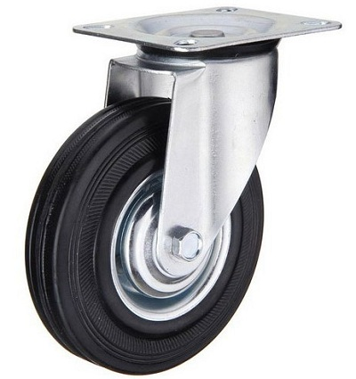 Industrial Caster Black Rubber Wheel with Swivel Top Plate
